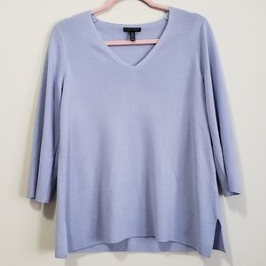 Eileen fisher v-neck wool 3/4 sleeve sweater XS